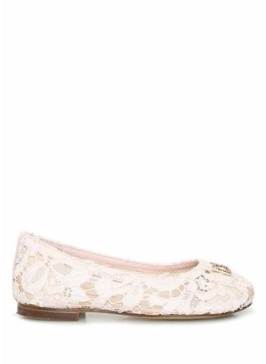 Dolce&Gabbana Dolce&Gabbana  Logolu Dantel Dokulu Kız Çocuk Babet 101621023 Pembe
